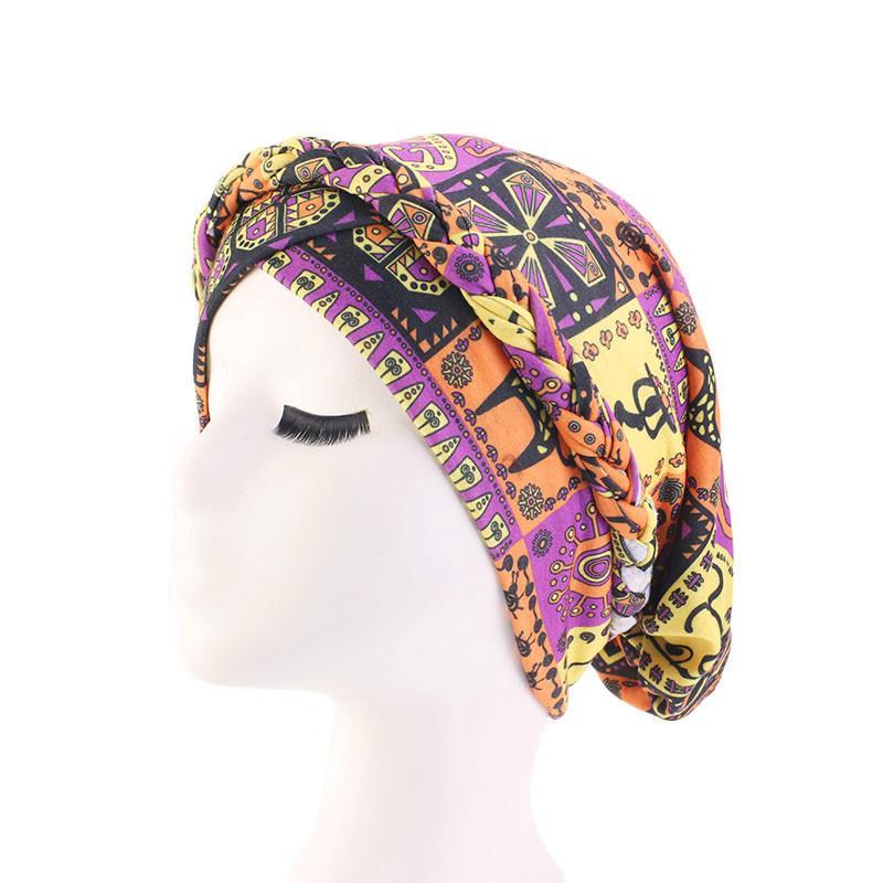 Image 5 - Women Cancer Hat Chemo Cap Ethnic Printed Muslim Beanie Braid  Head Scarf Turban Headwrap Cover Hair Loss Arab Bonnet FashionWomens  Skullies
