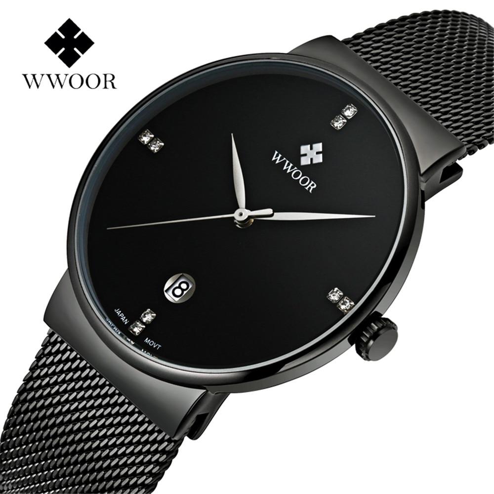 WWOOR Horloge Heren Modemerk Herenhorloges Quartz Ultra Dunne stalen - Herenhorloges - Foto 1
