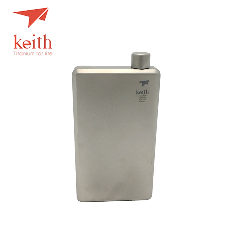 Keith Pure Titanium Hip Flask Flagon Portable Wine Whisky Pot Drinkware Sports Wine Flask Portable Outdoor 100ml