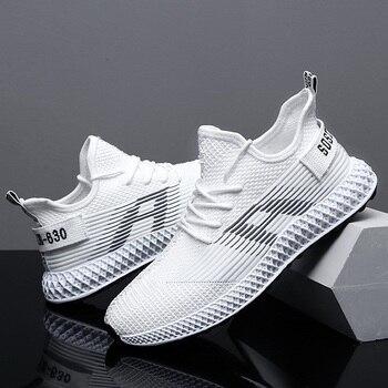 fa2c006b Hemmyi мужская обувь повседневная удобная и дышащая Flyknit мужская обувь  на шнуровке кроссовки резиновая подошва белый Sapato Masculino