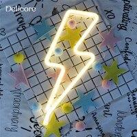 Delicore теплый белый фея праздник неоновый Ночная Lightning формы светодиодные лампы для маленьких Спальня украшения Свадебная вечеринка Декор S177