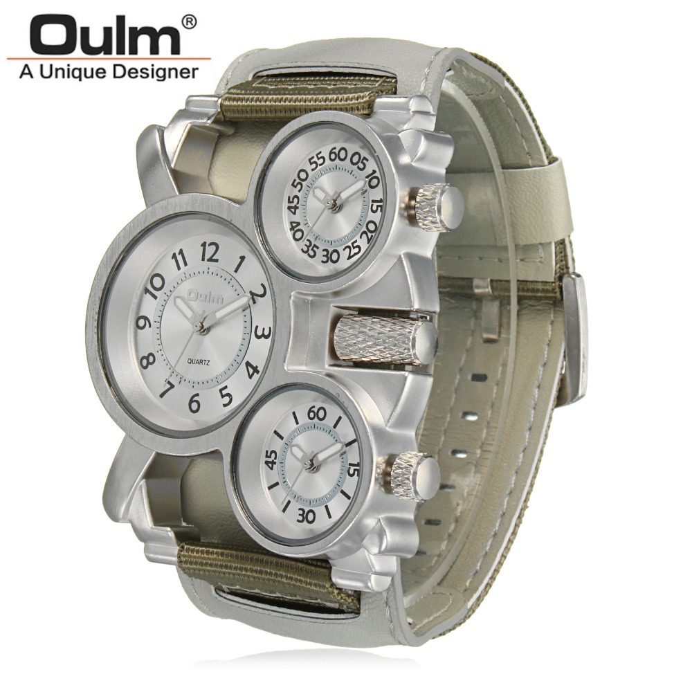 Oulm Mens Watches Top Brand Luxury Famous Tag Men's Military Wrist Watch 3 Time Zone Male Clock Canvas Band Quartz Watch Man