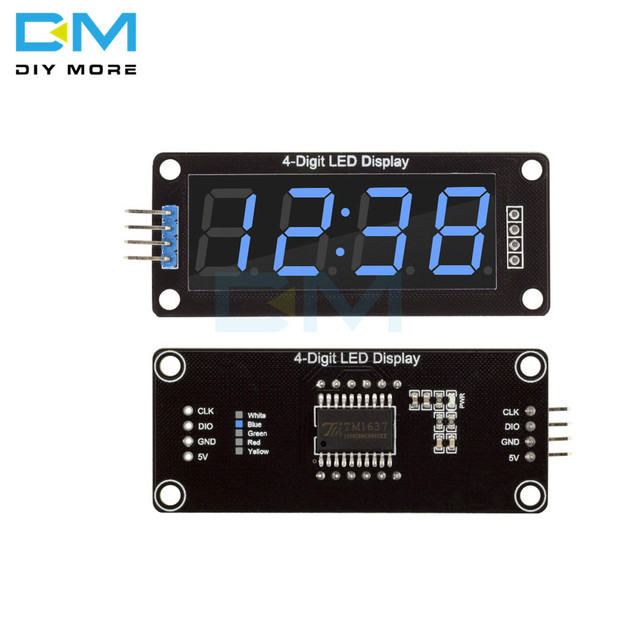 4-Digit LED 0.56 Display Tube (decimal) 7-Segments Blue TM1637 Clock Double Dots Module Size 0.56 Inch For Arduino