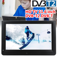 11.6 Inch Portable DVB T2 TV Digital Analog HD TV Color TFT LED Support TF Card W/Remote Control Universal Media Player