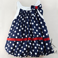 New 2017 Dot Print Bow Girls Dress Clothes Summer Infant Baby Girl Dress Child Sleeveless Birthday Party Dresses Kids JW1257