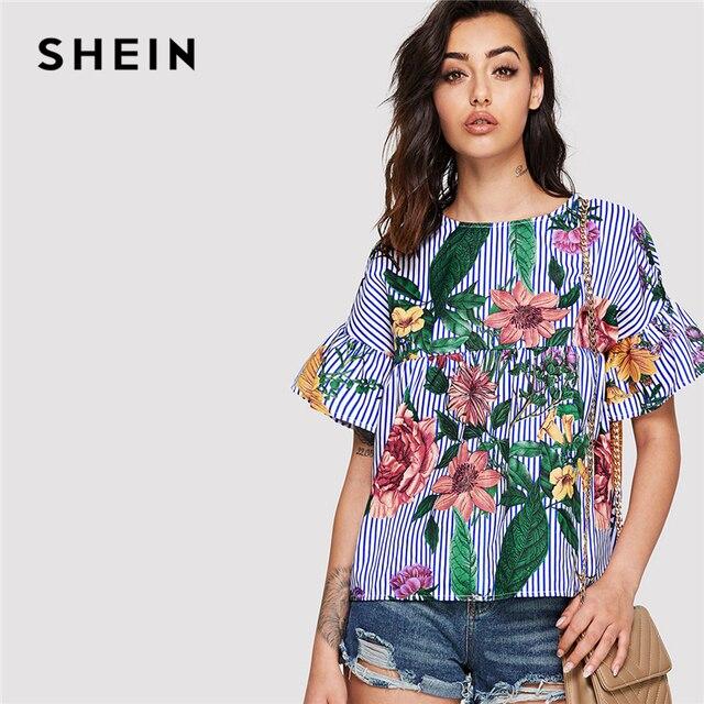 b8ba8dbd1fcd0 SHEIN Blue Vacation Bohemian Beach Floral Print Striped Round Neck Flounce  Sleeve Ruffle Blouse Summer Women Casual Shirt Top