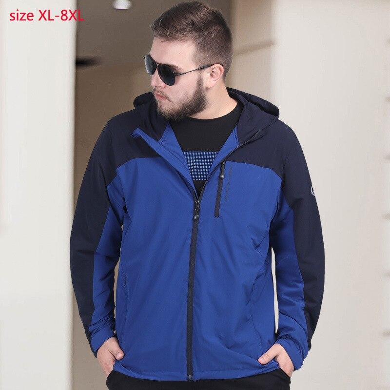 2019 새로운 도착 슈퍼 큰 남자 봄 여름 빛 재킷 통기성 빠른 건조 얇은 느슨한 캐주얼 플러스 크기 XL 6XL 7xl 8xl-에서재킷부터 남성 의류 의  그룹 1