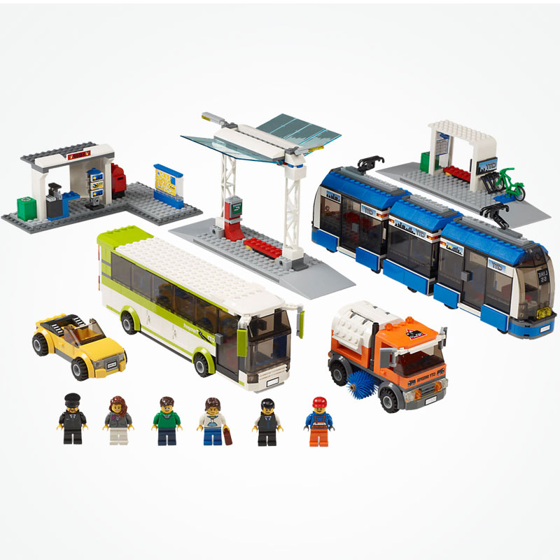 Blocks City  Public Transport Station tram bus sweeper 8 Figures Building Blocks toy kid Gift fit Legoing City train tracks