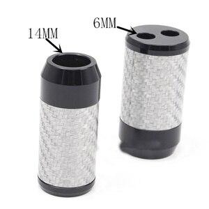 Image 3 - HiFi z włókna węglowego Y Splitter głośnik Audio przewód zasilający Adapter DIY słuchawki stereo złącze rozdzielacz ze stopu aluminium