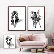 Watercolor Ballerina In Dance Canvas Wall Art Print Poster, Black And White Abstract Ballerina Dancer Poster Wall Pictures(China)