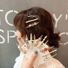 3Pcs/1Set Korea Metal Crystal Pearl Hair Clips for Women Girls Party Hairpins Barrette Headwear Styling Hair Accessories(China)