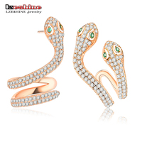 LZESHINE Real 925 Sterling Silver Earrings Rose Gold Color AAA Cubic Zirconia Punk Snake Cuff Ear