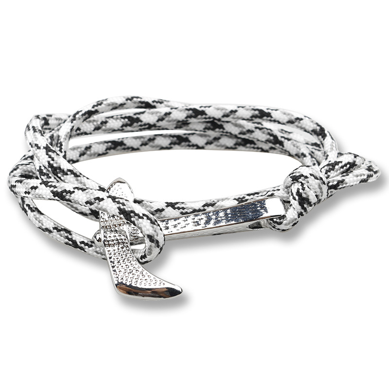 New Arrival Unisex Viking Style Silver Axe Anchor Multilayer Rope Braided Bracelet Classic Navy Hand Woven High Quality Bracelet