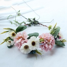 Handmade Artificial Rose Flower Wreath for Women Party Holiday Garland Hair Accessories Bridal Wedding Crown Pink Color