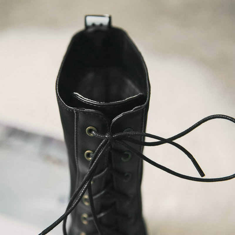 Moda Siyah Dantel Up Platformu Kalın Yüksek Topuk Diz Yüksek Çizmeler binici çizmeleri Kış Kadın Ayakkabı