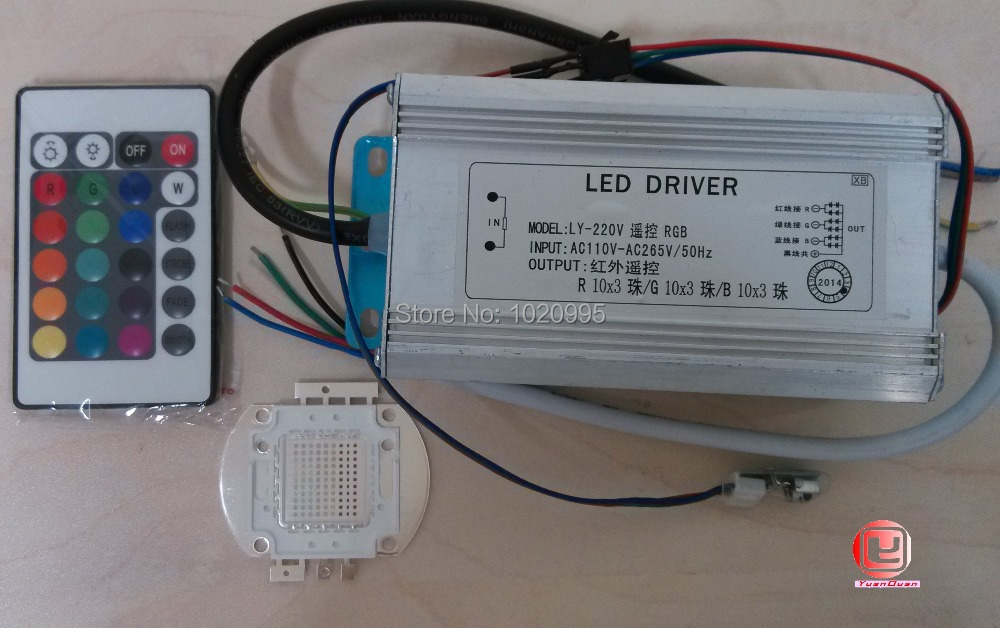 100 Вт RGB Led + 100 Вт RGB Водонепроницаемый Светодиодный драйвер A + 16 видов цветов Пульт дистанционного управления, бесплатная доставка