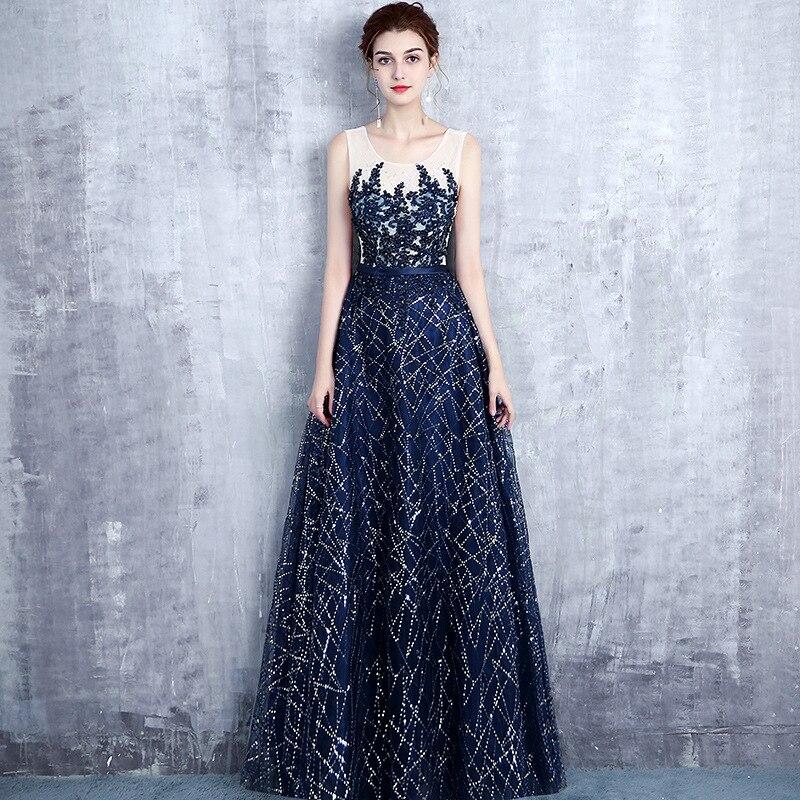 US $50.69 30% OFF Navy Blue Sequins Bridesmaid Dress Plus Size Sleevless  Women Wedding Gowns Elegant Robe Demoiselle D\'honneur Prom Dresses-in ...