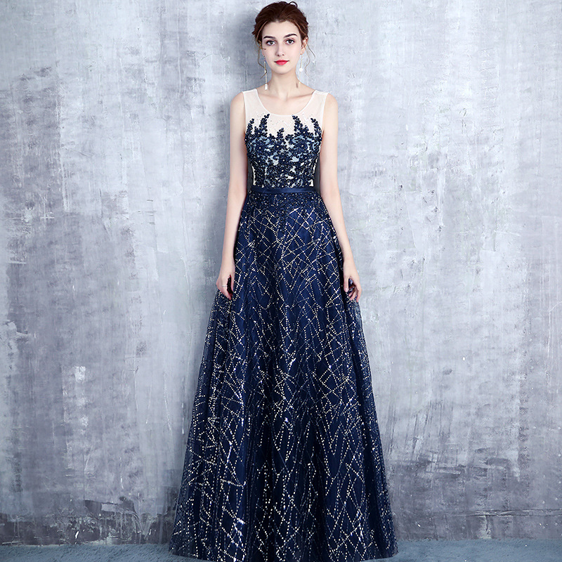 Navy Blue Sequins   Bridesmaid     Dress   Plus Size Sleevless Women Wedding Gowns Elegant Robe Demoiselle D'honneur Prom   Dresses