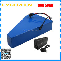 1500W 36V 50AH lithium battery 36V triangle electric bike battery with free bag use 3.7V 3500mah 35E cell 50A BMS 5A Charger