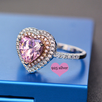 Princess Rings Sailor Moon Ring Sparkling Love Heart Shape 925 Sterling Silver Jewelry Promise Engagement Ring For Women Gifts