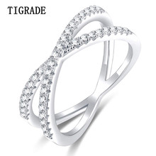 TIGRADE 925 Sterling Silver X Ring Cubic Zirconia Cross Wedding Engagement Party for Women anillos plata para mujer