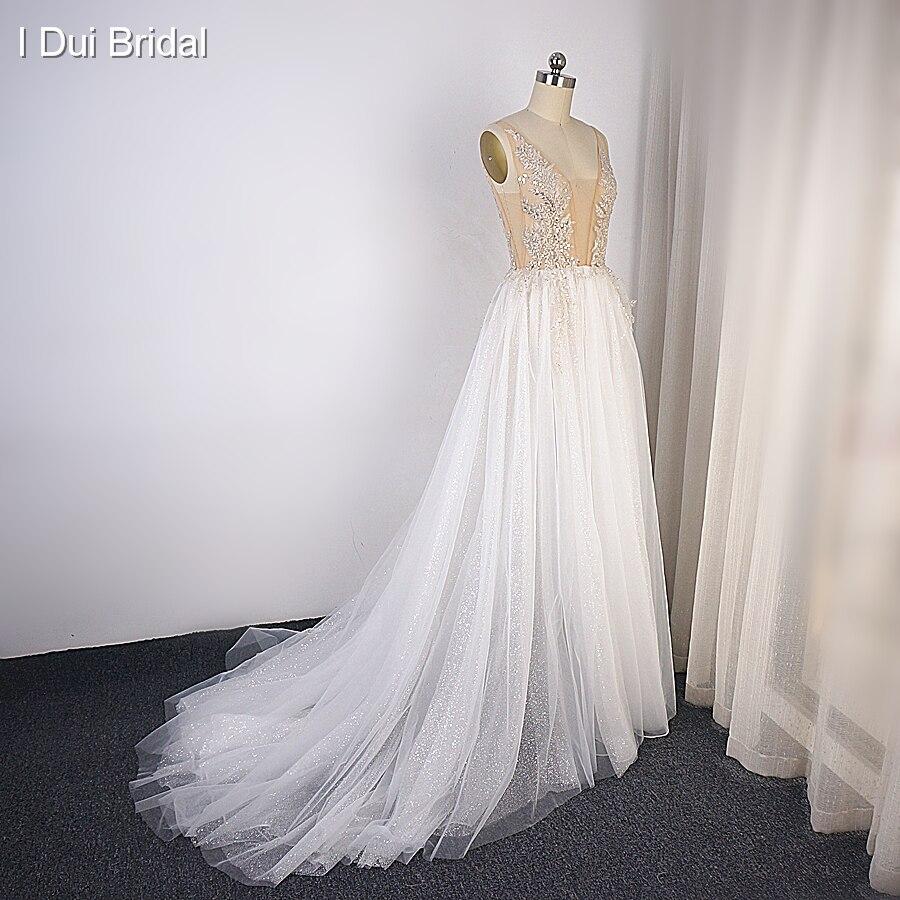Sparkle Tulle Wedding Dress with Split Leg Boho Deep V Neckline A Line Bridal Gown