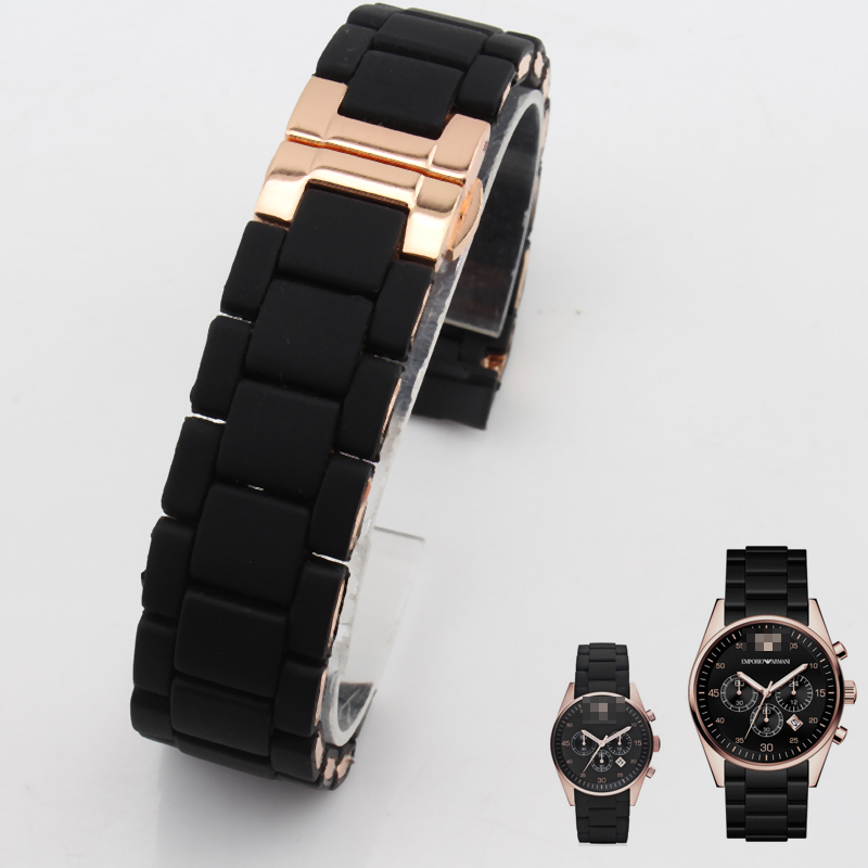 The Silicone Rubber Watchband Rose gold in Black silica gel for armani AR5905 man 23mm AR5906 woman 20mm watch band strap