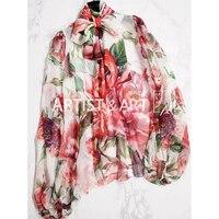 Осень Высокое качество шелковые блузки рубашки 2018 Для женщин очаровательные большой пион с длинным рукавом Лук цветок печатных ВПП пользов