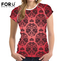 FORUDESIGNS T-Shirt for Women Chinese Style Red Floral Ladies T Shirt Summer Clothes Female Fashion Tops Tees Blusa Girls Tshirt
