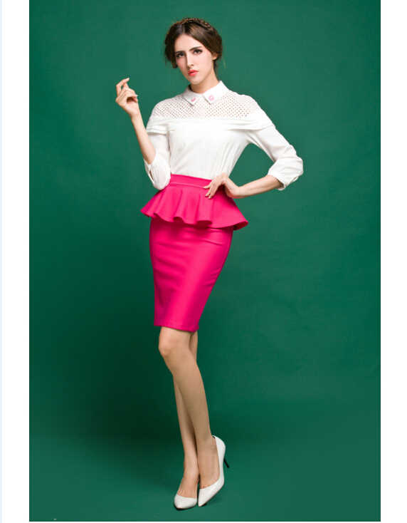 9039eff30 Plus Size 5XL 6XL 7XL 8XL Bodycon High Waist Peplum Pencil Skirt Ladies  Vintage Retro Fashion