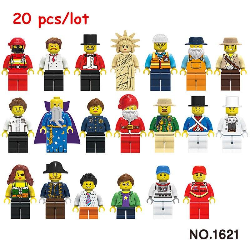 20 pcs/Lot City Character Action Figure Building Blocks Sets Bricks Classic Model Kids DIY Toys Gift Marvel Compatible Legoings