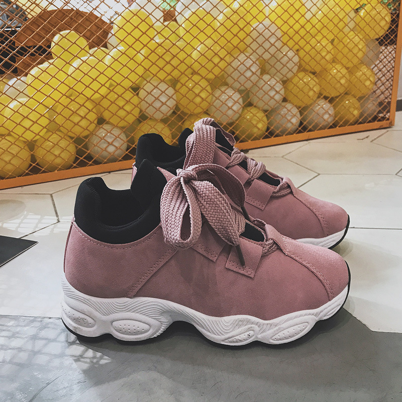 Spring 2018 Women Sneakers Pink Women Casual Shoes Trends Platform Shoes Korean Female Shoes Thick Bottom Trainers Fashion Black sneakers woman 2018 spring and autumn season new pattern korean plate thick bottom chalaza casual old women s shoes