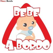 все цены на Three Ratels TZ-1586# 15*14cm funny car stickers lovely baby on board in Spanish  car stickers and decals for volkswagen онлайн