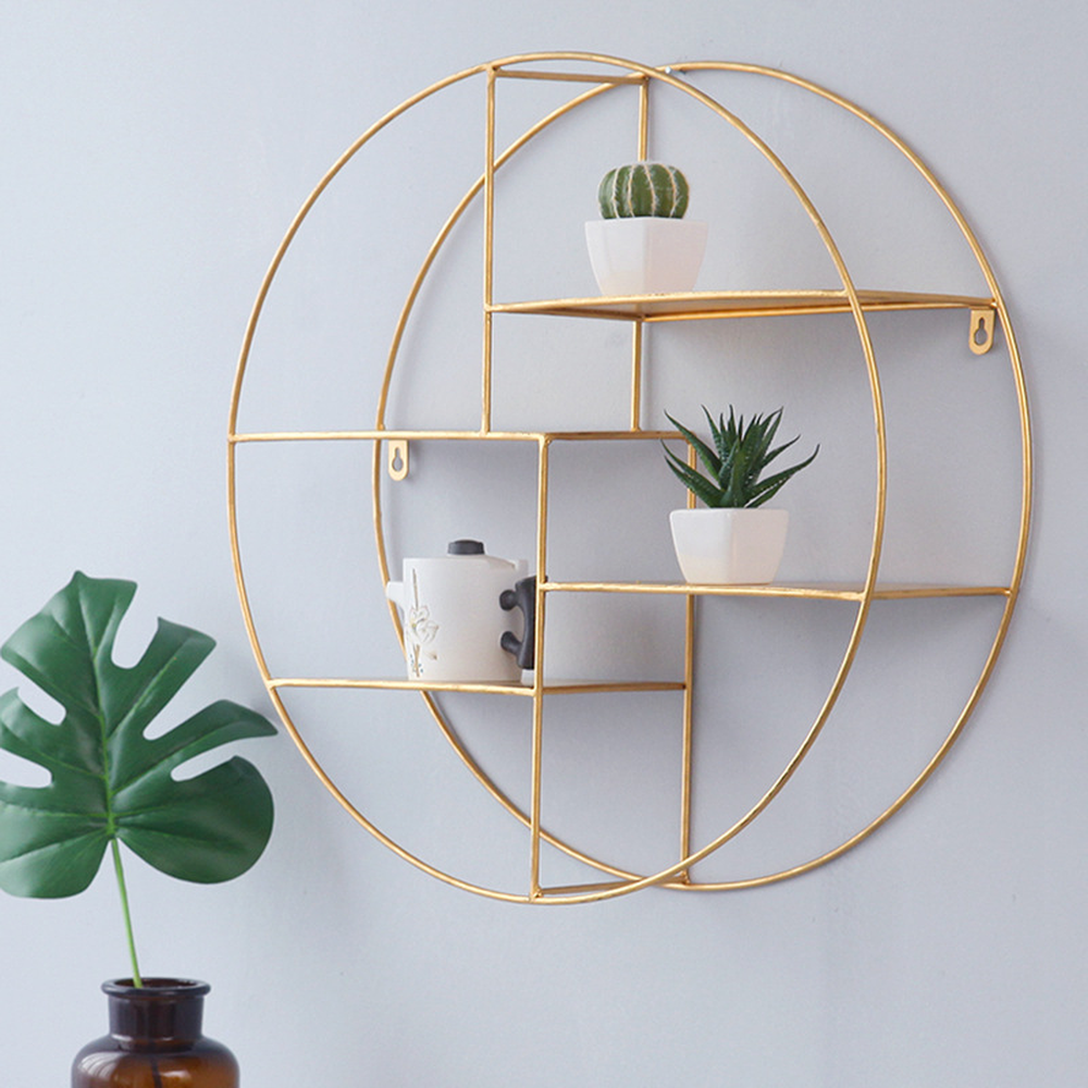Nordic Wrought Iron Four Tier Rack Round Simple Gold Wall Decoration Living Room Creative Storage Wall Hanging Lo813238 Bathroom Shelves Aliexpress