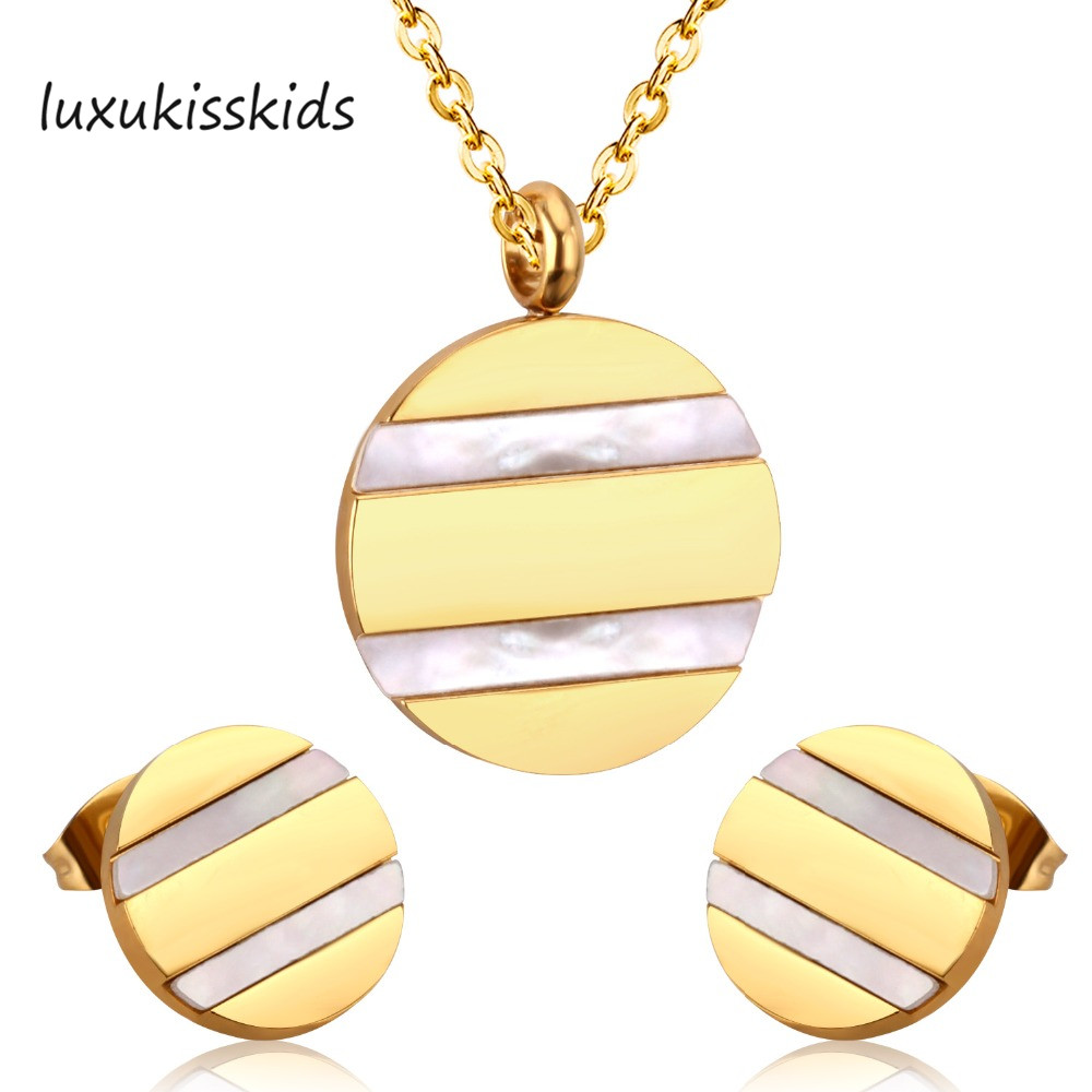 Brand New Gold/Silver Stainless Steel Shell Sets Round Shape Fashion Jewelry Set,Free Chain