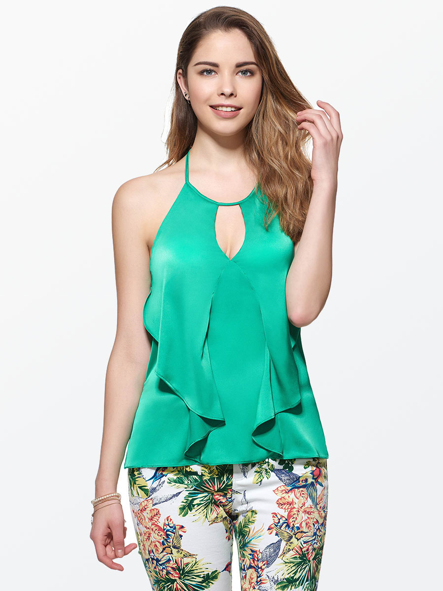 2018 New Summer Hollow Halter Blouse Green Solid ...