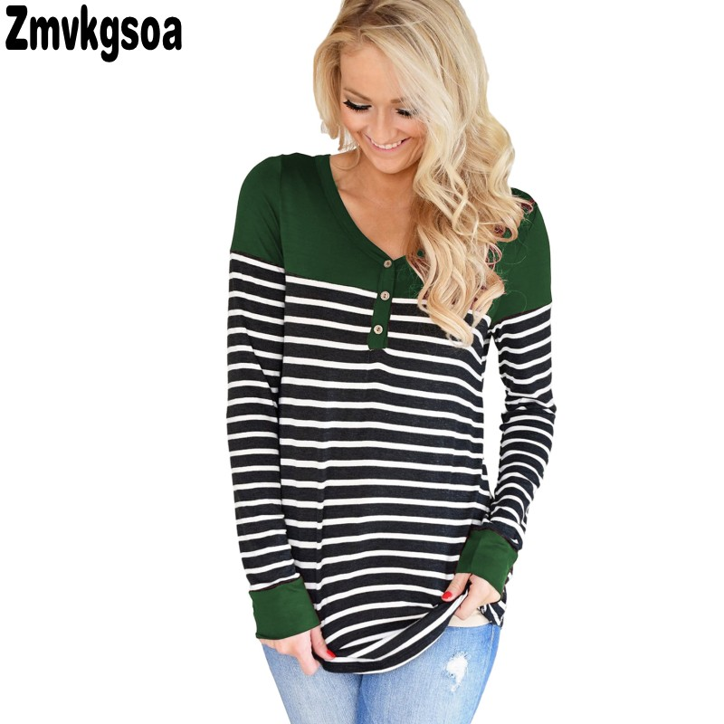 2018 Autumn Casual Blouses For Womens Tops Green Color