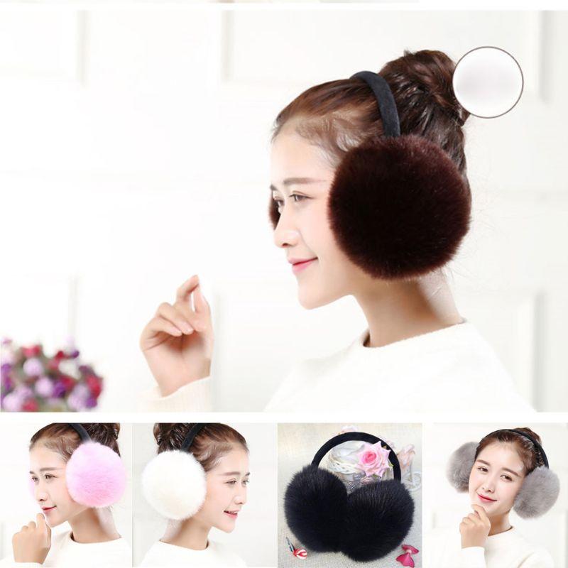 Women Girls Winter Sweet Solid Candy Color Earmuff Artificial Rabbit Fur Fluffy Big Pompom Ball Earflap Stretchy Ear Warmer Head