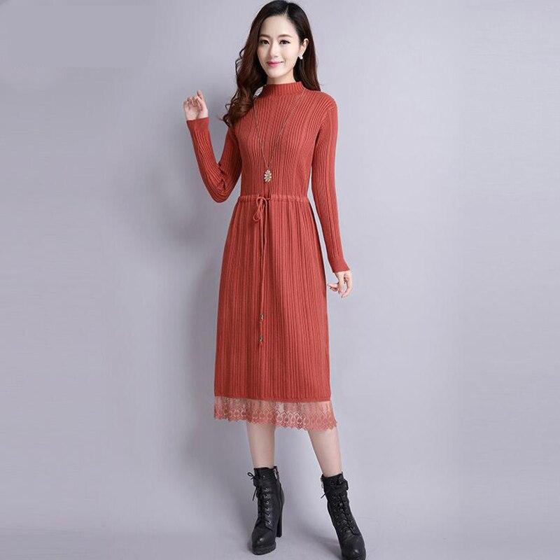 2018 femmes automne hiver pull Robe nouveau Slim demi col roulé à manches longues Sexy dame moulante Robe dentelle tricoté robes Vestidos