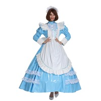 Sissy Girl French Maid Lockable PVC Baby Blue Long Dress Crossdress Uniform Cosplay Costume