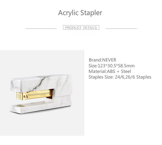 US $14 27 16% OFF|Never Marble Printing Manual Stapler Fashion Gold Metal  Stapler Acrylic Office Accessories 2019 Trend Stationery Free Shipping-in