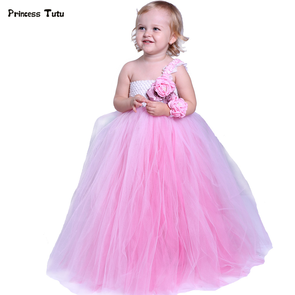 Cute Pink Flower Girl Dresses For Weddings Ball Gown Girls Tutu Dress Princess Children Kids Pageant Birthday Party Tulle Dress princess ball gown red lace flower girls dresses for weddings birthday communion kids stage performance