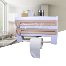 Mayitr 1pcs Kitchen Wall Mounted Tissue Paper Towel Holder Cling Film Sauce Bottle Storage Rack Holder Kitchen Accessory 3colors