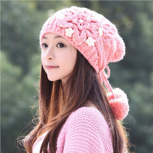 cdb7c06b5c3 Top Quality New Women s Ladies Girls Stylish Pearl Flower Pattern Leisure  Warm Knitted Winter Beanie Hat Cap Free Shipping!