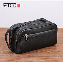 AETOO Male handbag leather Large capacity double zipper portable bag mens head cowhide casual day clutch men