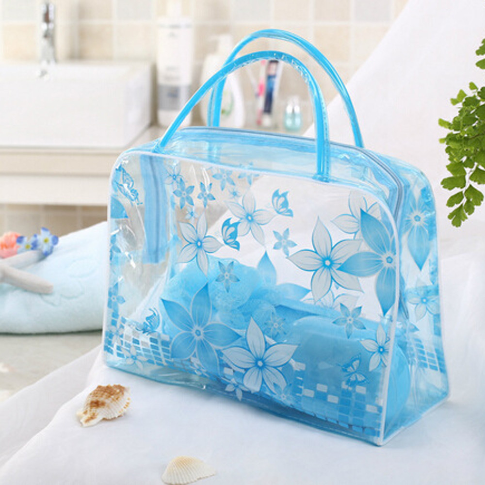 Woman Bags Transparent PVC Flower Waterproof Makeup Toiletry Travel Wash Cosmetic Pouch New Kosmetik Bag Neceser Mujer Peque O