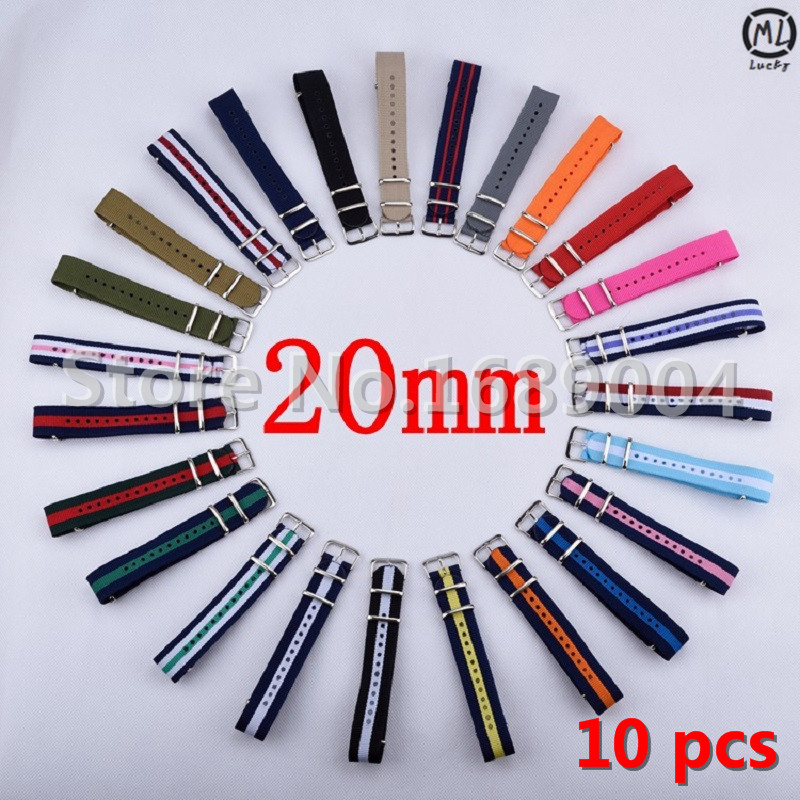 10 pieces / lot 20mm Watchband Nato Strong NATO Military Wrist Army Nylon Canvas Watch Strap Band 20 mm Belt Wholesale