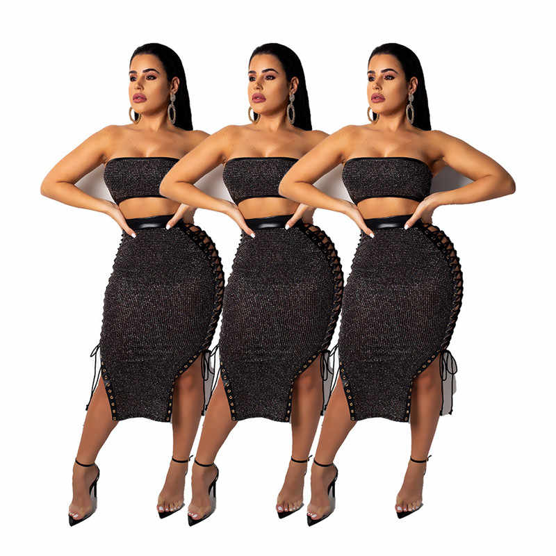 35fbb2f206 Sexy 2 Piece Set Women 2019 Fashion Tie Up Black Sequin Crop Top and ...
