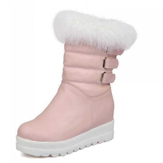 Winter Women Chunky Heel Height Increase Elevator Rabbit Fur Buckle Round Toe Fashion Half Snow Boots Plus Size 34-43 SXQ0826 women round toe ankle boots woman warm fur winter snow boots new fashion buckle style footwear low heel shoes size 34 43