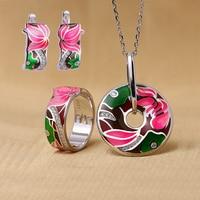 RainMarch Flower Enamel 925 Silver Earring Ring Pendant Jewelry Set For Women Sterling Silver Necklace Pendant